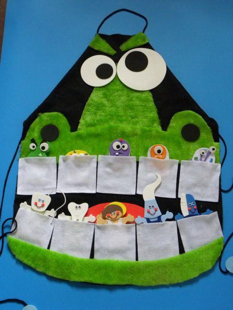 Quer fazer um projeto de higiene bucal?   Que tal esse avental?     Acho que esse Jacaré vai convencer muitas criança a cuidarem dos dent...