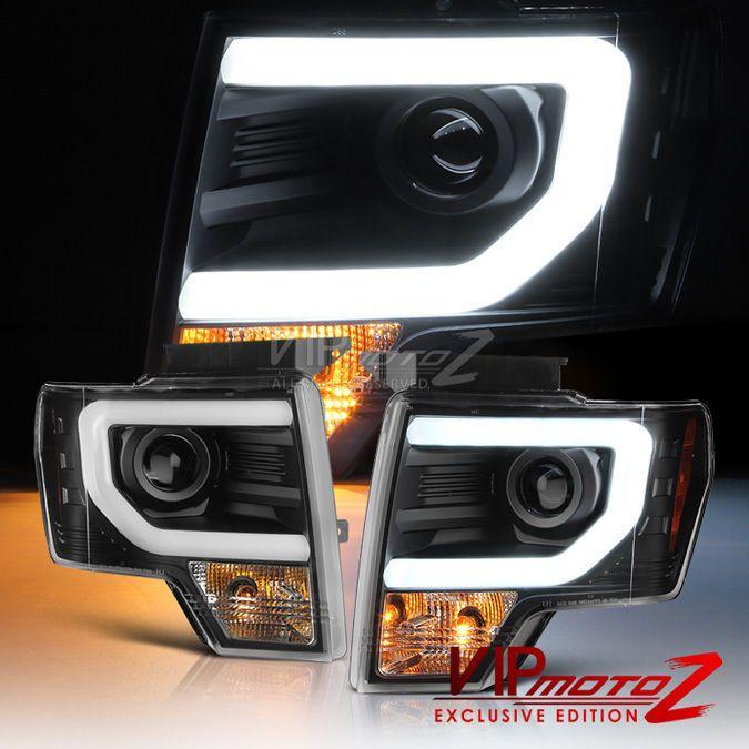 "2009-2014 Ford F150 ""CYCLOP OPTIC"" LED Tube Matte Black Headlights <Raptor SVT> #VenomInc"
