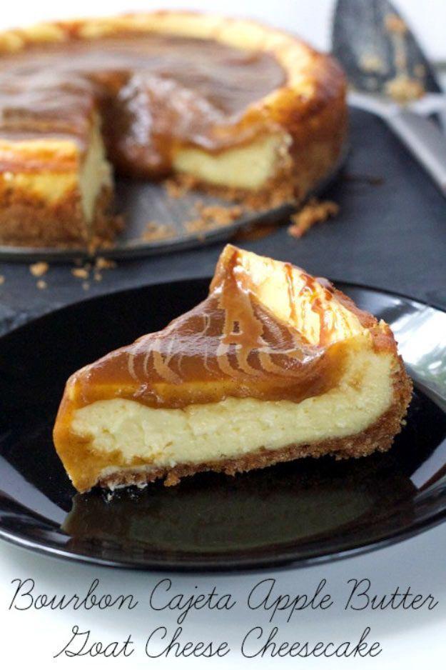 Bourbon Cajeta Apple Butter Goat Cheese Cheesecake   Cajeta Recipes   Homemade Desserts That Taste So Good! Check it out at http://pioneersettler.com/cajeta-recipes/