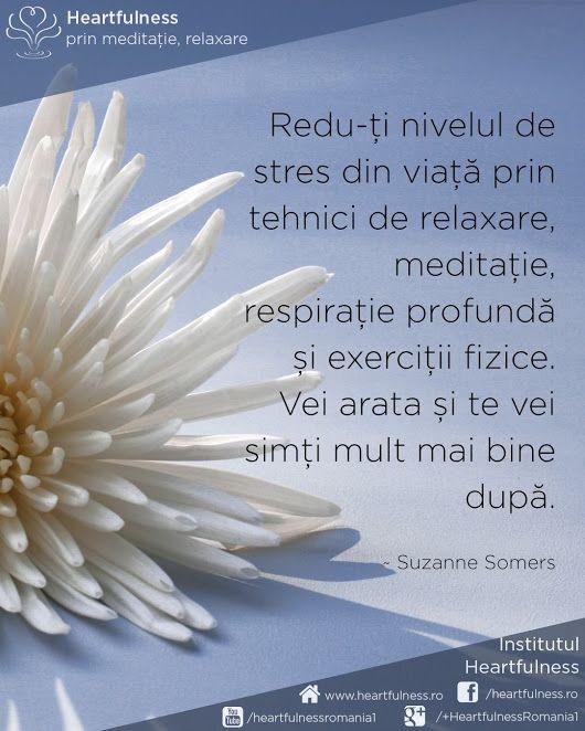 Redu-ți nivelul de stres din viață prin tehnici de relaxare, meditație, respirație profundă și exerciții fizice. Vei arata și te vei simți mult mai bine după. ~ Suzanne Somers #cunoaste_cu_inima #meditatia_heartfulness #hfnro Meditatia Heartfulness Romania
