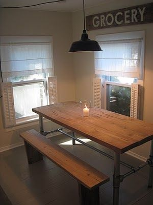 the perfect DIY industrial farmhouse table::via frugal farmhouse blog