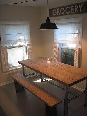 the perfect DIY industrial farmhouse table::via frugal farmhouse blog