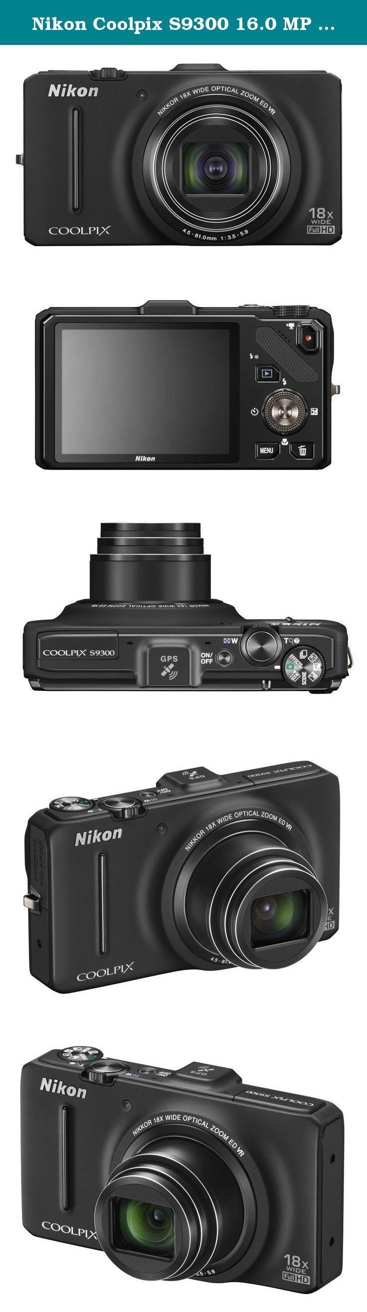 Nikon Coolpix S9300 16.0 MP Digital Camera - Black (Discontinued by Manufacturer). Power and portability blend perfectly into the Nikon COOLPIX S9300 . This digital camera features 16MP backside-illuminated CMOS, 18x wide-angle optical zoom lens, VR image stabilization, built-in GPS, Full HD (1080p) video, 3.0-inch LCD, Easy Panorama Mode, 7 fps shooting, Backlight HDR Mode, ISO sensitivity up to 3200, Smart Portrait System, and more! What's in the box? MH-65 Battery Charger; EH-62F AC...