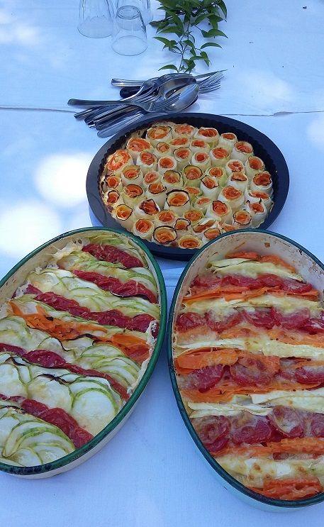 Tian de légumes.(carottes, courgettes, tomates, mozzarella.