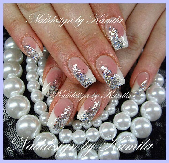 67 best sparkle nails images on pinterest bridal colorful nails pink and white nail design with silver sparkle smear prinsesfo Choice Image