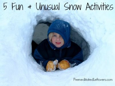5 Fun and Unusual Snow Activities and Games for kids (and parents) to enjoy on snow days.