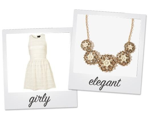 How to Wear: Statement Necklaces |  Pair White, girly tops w/ ELegant Gold/ Silver statement necklace