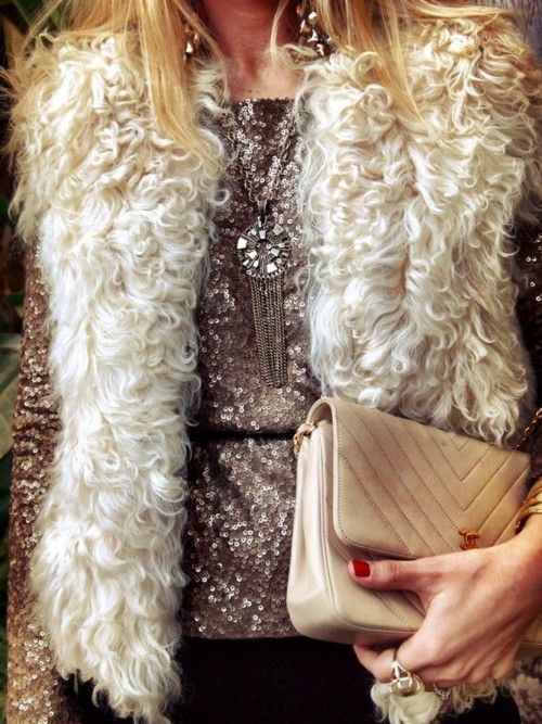 Fur vest over sequins