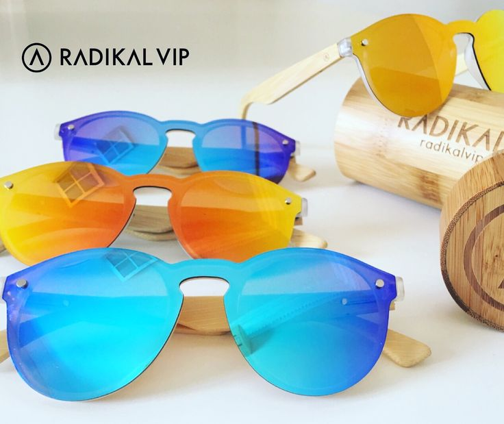 Gafas de sol con lentes naranja y azul espejadas, polarizadas UV400 çat.3 Con varillas de Bambú. Trendy 😎🔝