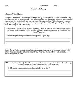 """Please note that the quotes from Hamilton & Jefferson used in this activity are DIFFERENT than the """"Federalist v Democratic Republican Quote Analysis"""" activity. Students will read primary source quotes to analyze the difference between America's first two political parties, the Federalists and Democratic Republicans."""