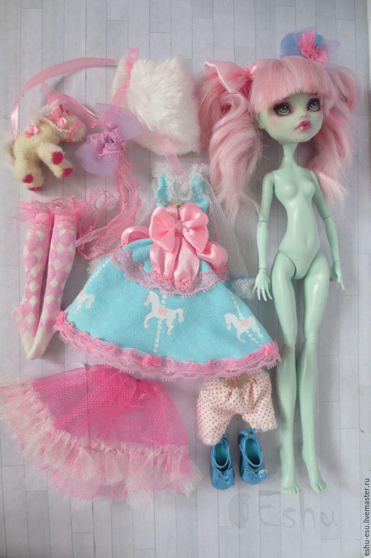 Купить OOAK Monster High - бледно-розовый, голубой, монстр хай, Школа Монстров, ооак