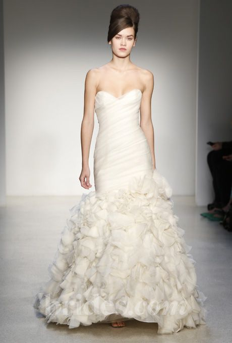 Brides.com: . Strapless mermaid wedding dress with a sweetheart neckline, draped bodice, and ruffled skirt, Kenneth Pool  See more Kenneth Pool wedding dresses in our gallery.
