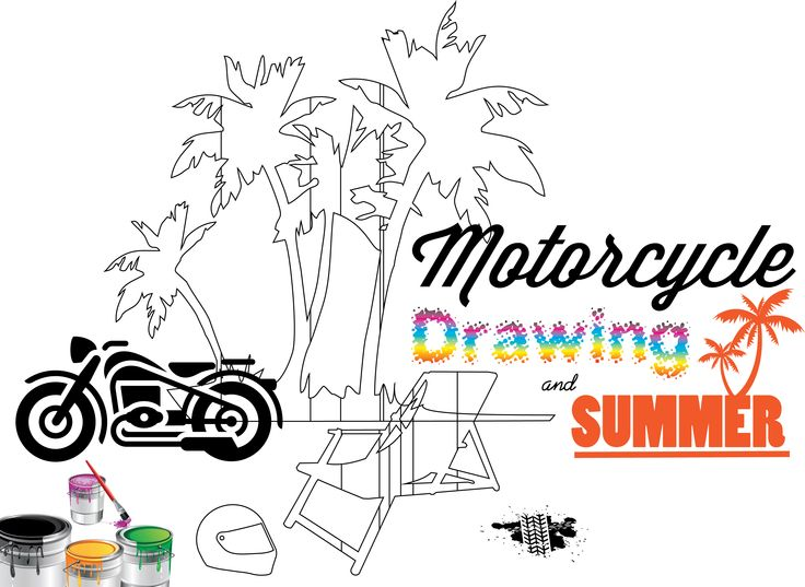 Motorcycle, Drawing & Summer