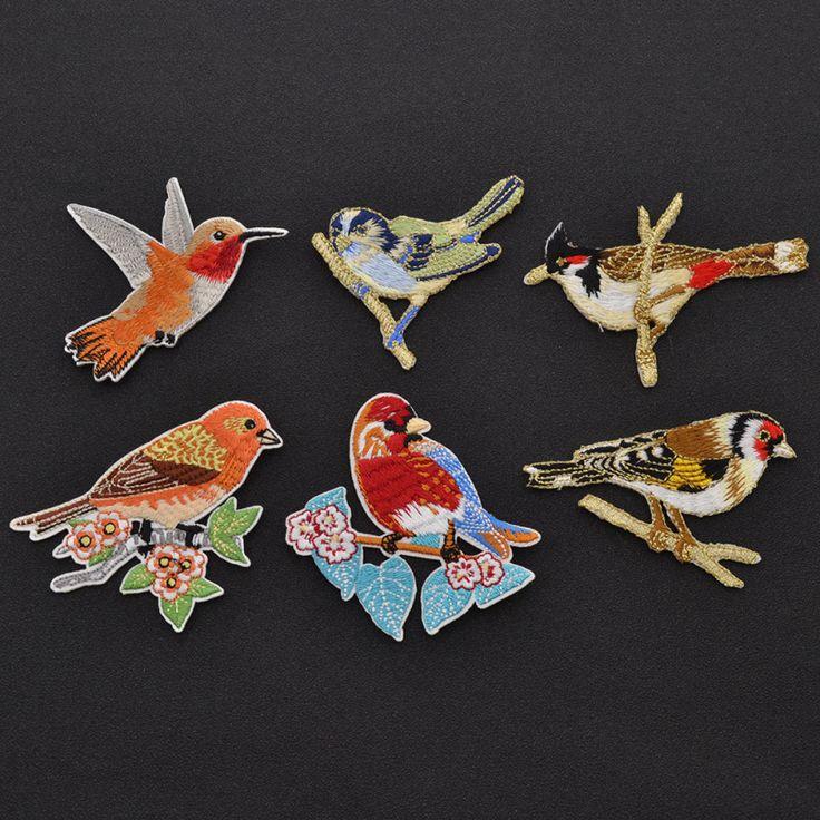 Pas cher 1 Pc oiseau Parrot Cardinal paon Applique bricolage correctifs de fer…