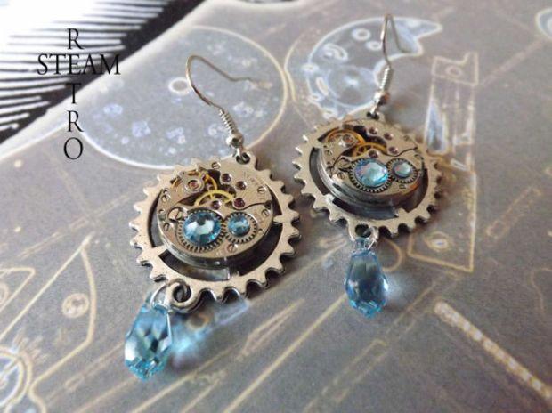 Watch Movement Aquamarine Swarovski Steampunk Earrings