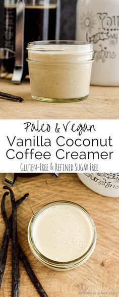 Paleo Vanilla Coconut Coffee Creamer! A 4 ingredient, easy recipe that's healthier than store-bought versions! Dairy-free, refined-sugar free, paleo, and vegan!