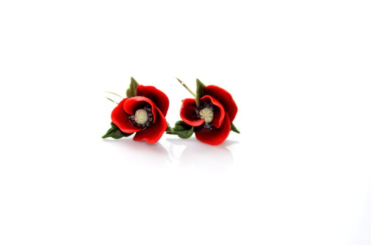Poppy hook earrings By Innette  innette.etsy.com