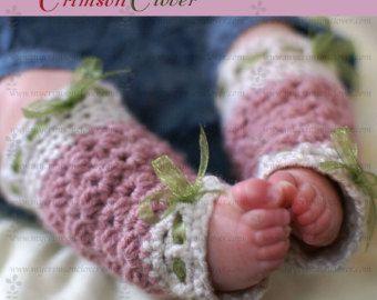 Calentadores bebé ganchillo patrón Petite conchas