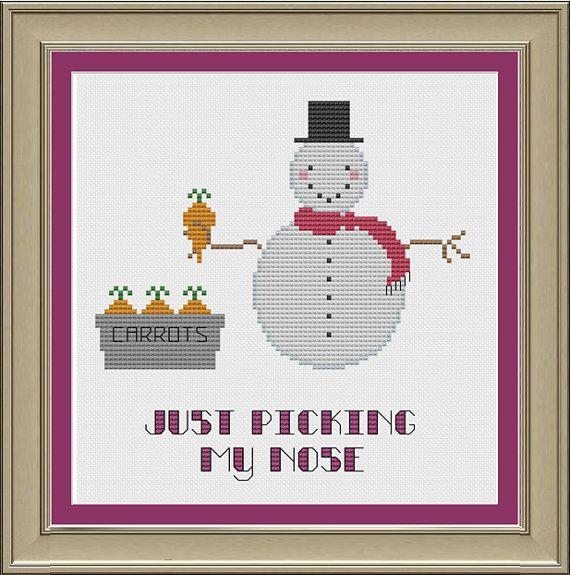 Just picking my nose: funny snowman cross-stitch pattern