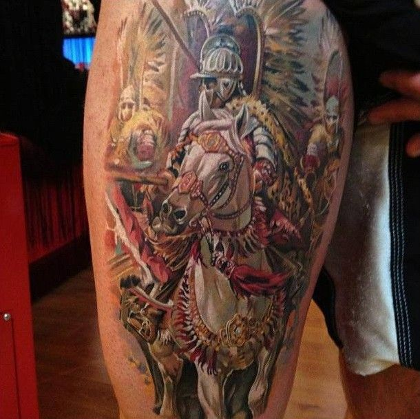 Medieval Knight On Horseback Tattoo On Thigh