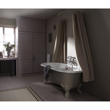 Baignoire ilot rectangulaire royale jacob delafon 175x80 cm leroy merlin bathrooms for Peindre baignoire fonte
