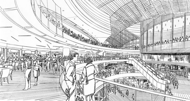 Asian Mall Interior Sketch Ink And Pencil Sketches