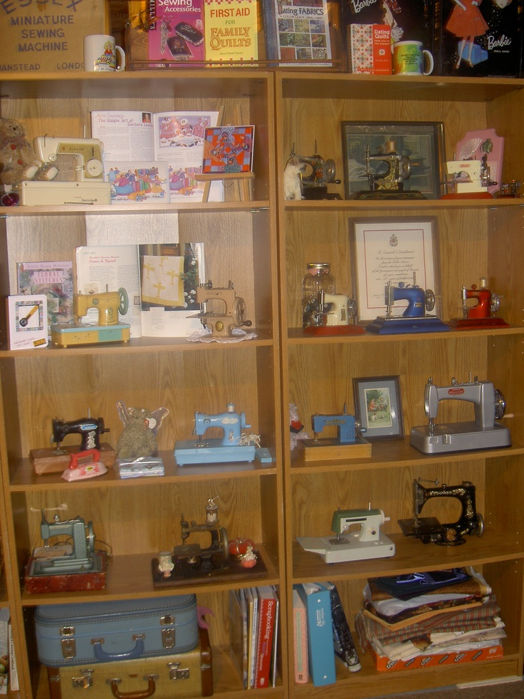 Some of my antique toy sewing machine collection.