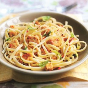 Lemon and chile linguine using Quorn Chik'n Tenders