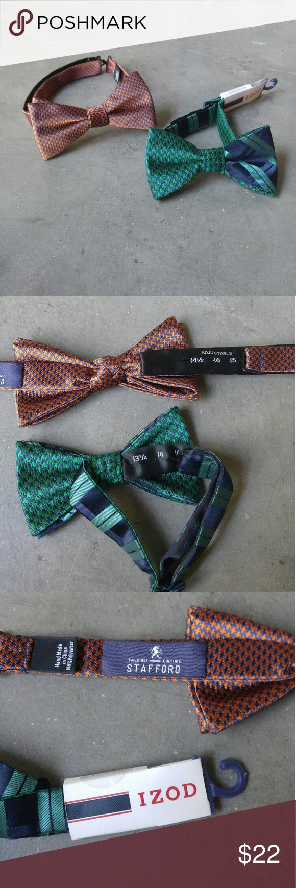 Pair of Orange and Green Bows Ties Orange bow tie by Stafford, green NWT bow tie from IZOD. Both in perfect condition. Adjustable neck lengths. Please ask any questions. No trades. Make a reasonable offer. Thanks! Stafford Accessories Ties