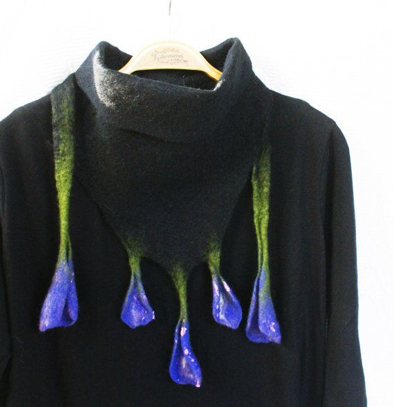 Black Lavender Blue Wool Wrap Collar OOAK Felted Crocus Flower