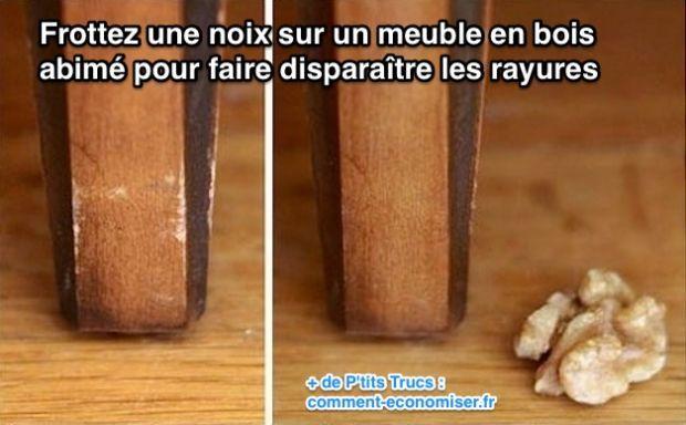 Frottez une noix sur un meuble en bois abimé pour faire disparaître les rayures
