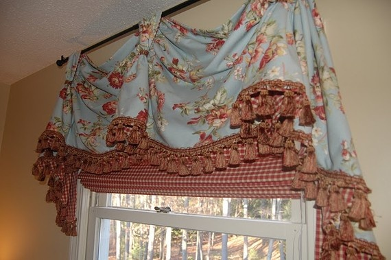 Curtain And Roman Shade Combo Valance New England Style