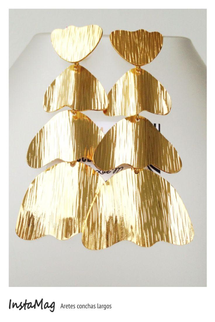 Aretes concha bronce con ba o de oro sinu a collar for Accesorios bano bronce