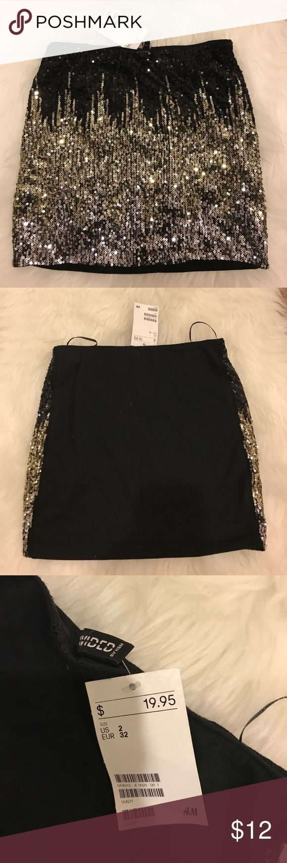 Soft gold and black sequin skirt size 2 New with tag, black and gold sequin skirt Skirts Mini