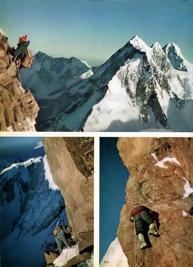 Walter Bonatti And Carlo Mauri Climb Difficult Rock Pitches High On Gasherbrum IV Northeast Ridge