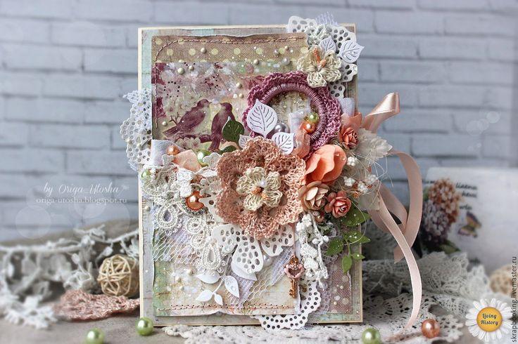 Купить Открытка в персиковых тонах - бежевый, открытка на день рождения, Открытка ручной работы