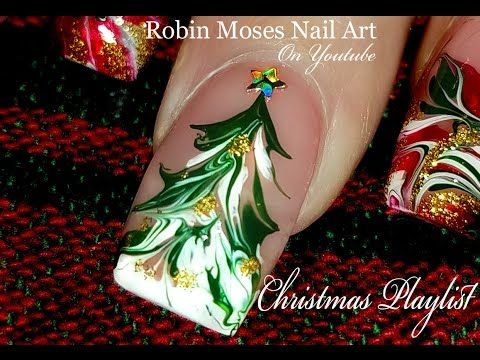 Just A Christmas Tree in Drag | No water Marble Nail Art Design Tutorial! | Nail-art by Robin Moses | Bloglovin'