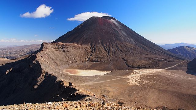 """Heres some #Monday #magic to brighten up your week! Mt #Ngauruhoe is around 2,500 years old and is the youngest of the three volcanoes in the Tongariro National Park. Its relative youth gives rise to a more regular volcano shape with steep slopes. #MountNgauruhoe made its big film debut as the evil #MountDoom in #PeterJackson Lord of the Rings trilogy. """"Super extraordinary and mind blowing Summer or Winter!"""" http://www.visitruapehu.com/new-zealand/Mt-Ngauruhoe/"""