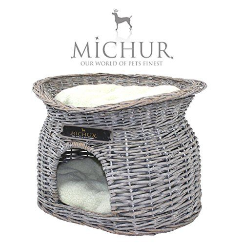 LOVE THIS BRAND!! MICHUR RICHY, cat cave & basket willow/ wicker grey incl. pillows - GERMAN BRANDNAME QUALITY! £43.99 http://www.amazon.co.uk/gp/product/B005RUSB9K/ref=as_li_qf_sp_asin_il_tl?ie=UTF8&camp=1634&creative=6738&creativeASIN=B005RUSB9K&linkCode=as2&tag=miemax-21