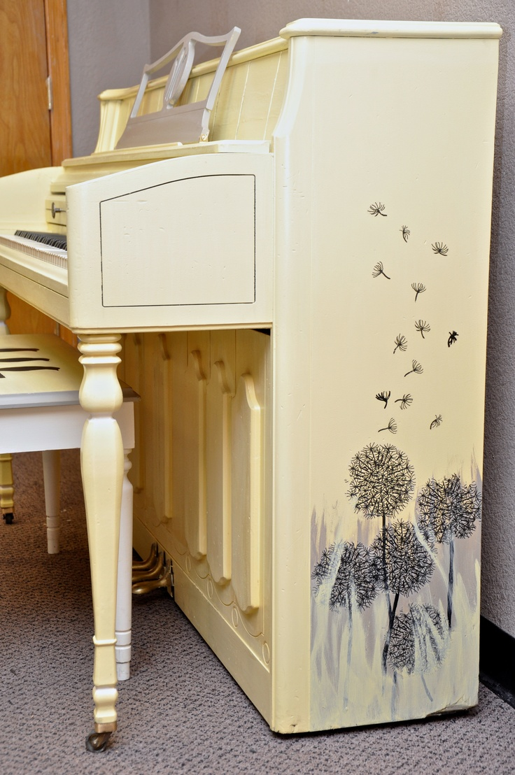 """""""Custom Order"""" by My First Piano Revival Project artist Sarah. This is one of our first pre-ordered projects. The customer wanted a yellow motif with some whimsical nature art. Nailed it! Way to go Sarah! Check our current piano inventory at www.myfirstpiano.net #paintedpiano"""