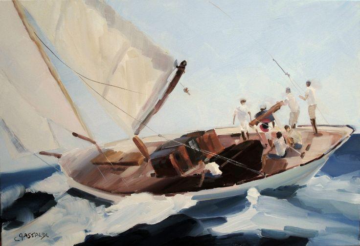 Tableau marine voiles de st tropez sign gastaldi peinture for Delta 0 tableau de signe