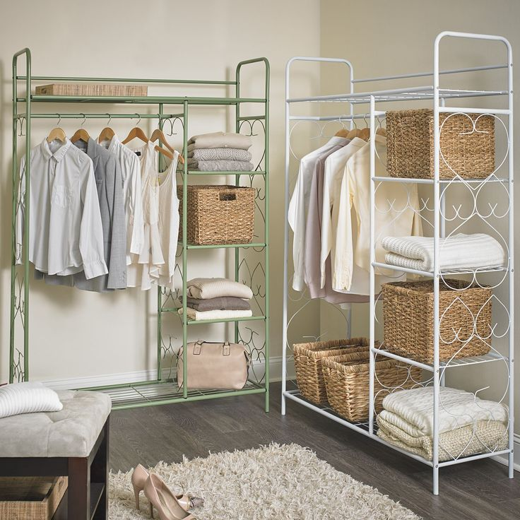 """Richly crafted in wrought iron with beautiful side scroll design, this free-standing closet is perfect for any living space, foyer or bedroom.   a BrylaneHome® Exclusive! measures: 69""""H x 47""""L x 16""""D weighs 35 lbs. features hanging rod and 5 shelves imported assembly required just one of our many closets and space savers! Shop our site today! BrylaneHome offers a wide variety of storage and organization solutions for every room in your home  Why Buy?Your home will look neat and mo..."""