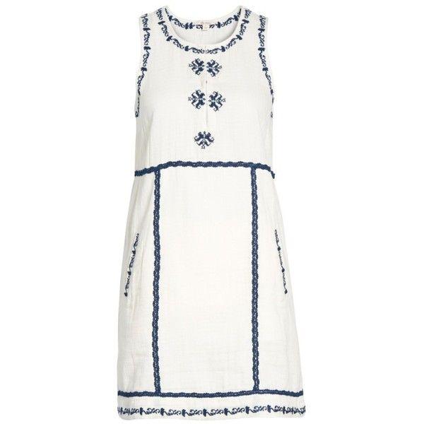 Women's Ella Moss Marini Shift Dress ($198) ❤ liked on Polyvore featuring dresses, white, vintage shift dress, white shift dress, ella moss dress, embroidered dress and vintage dresses