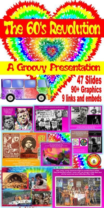 This is a vibrant, compelling, dynamic PowerPoint presentation about the 60's revolution.  It includes information about the politics of the time, war, the nation's response, the hippie movement, music, art, literature...the whole 60's counterculture.  Fabulous with embedded music and speeches.  A great mini-lesson on an interesting era in American history.  #americanhistory #hippies #60's #music #education #highschoolsocialstudies