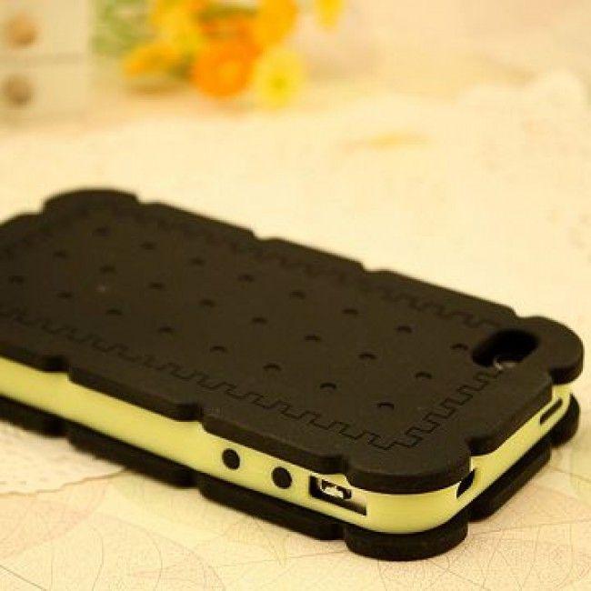 Biscuit (Musta) iPhone 4/4S Silikonisuojus - http://lux-case.fi/biscuit-musta-iphone-4-4s-silikonisuojus.html