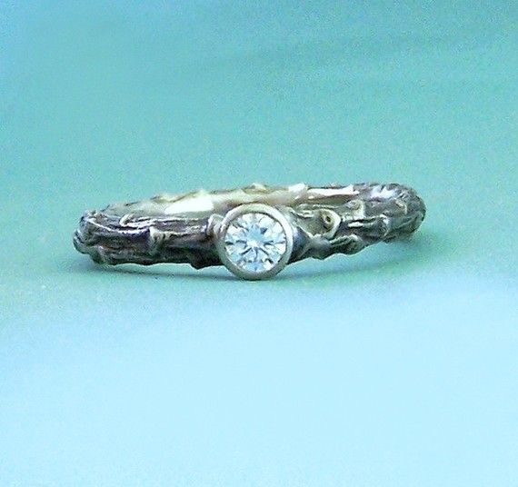 Pine Twig Diamond Solitaire Engagement Ring by esdesigns