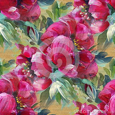 Colorful background with red flowers, acrylic painting. Seamless pattern. Hand-drawn illustration.