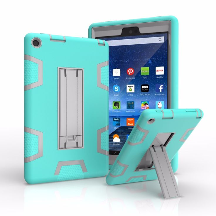 Coque Case for New 2016 Amazon Kindle Fire HD 8.0 Heavy Duty Plastic+Rubber Cover Case Hybrid 3in 1 with Stand Holder 12C