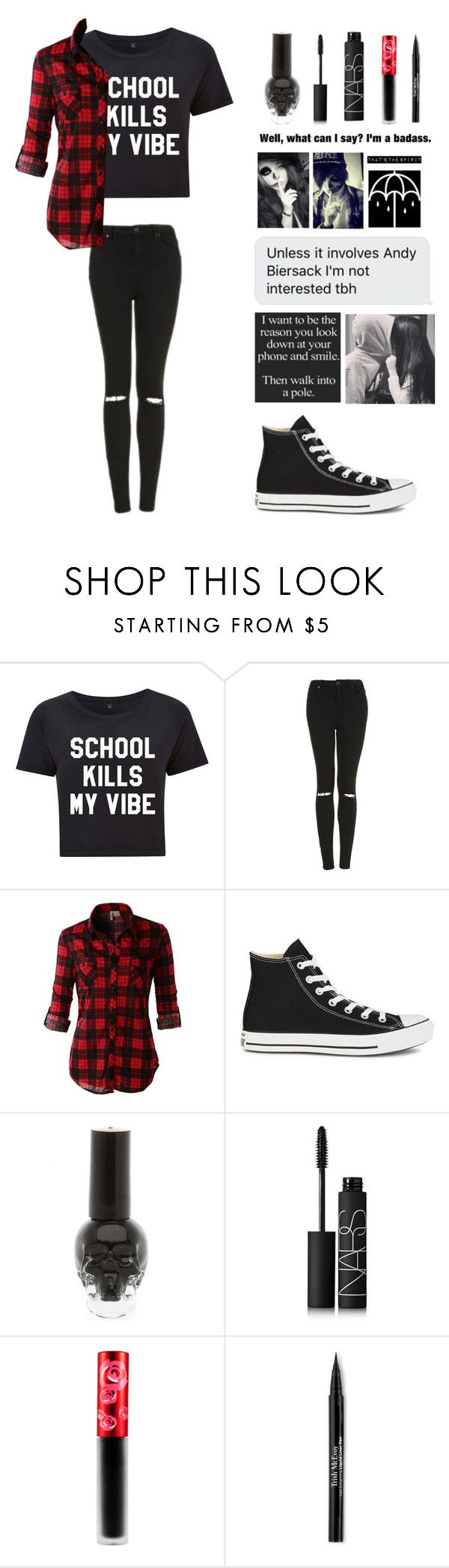 """QOTD- what do you want to be when you grow up?"" by michytherockerplatypus ❤ liked on Polyvore featuring Topshop, LE3NO, Converse, NARS Cosmetics, Lime Crime and Trish McEvoy"