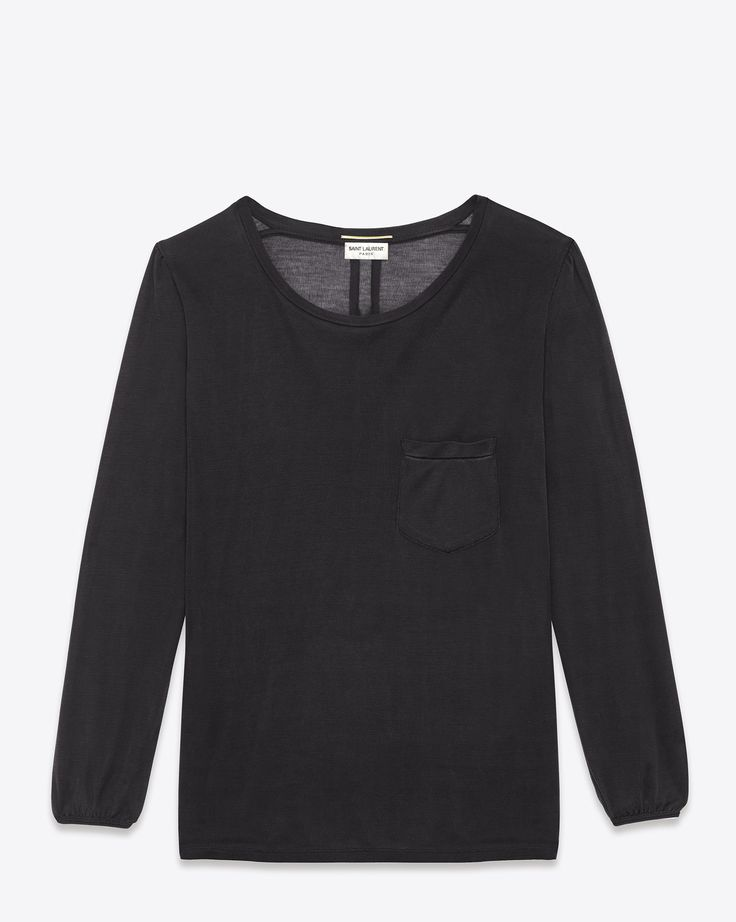 Saint Laurent Classic Long Sleeve T Shirt In Black Stonewashed Silk | ysl.com